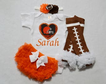 cleveland browns baby girl outfit - baby girls browns outfit - browns baby girl football outfit - cleveland browns football baby girl
