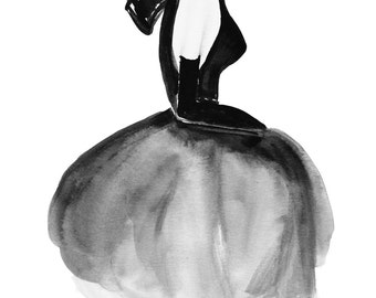 VICTORIA: Hand Painted Fashion Illustration, Bedroom or Office Decor, Black & White, Wall Art, Couture Birthday Present. Frame Not Included.