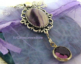Purple Fluorite Natural Banded Stone Pendant Crystal Charm Necklace Jewelry SylCameoJewelsStore