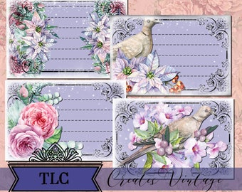 Purple Wonderland Vintage Junk Journal, Printable Journal Cards