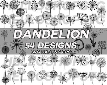 dandelion svg, dandelion clipart, dandelion silhouette, flower svg, floral svg, flower clipart, floral clipart, iron on, stencil, vinyl