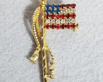 VtG Vintage Rhinestone Flag Pin Brooch - Gorgeous - Double Tassel