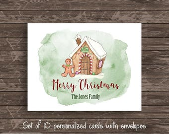 Watercolor Gingerbread Personalized Note Card Set of 10 cards Stationery Notecard