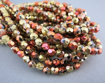 4mm Dragonfire Etched Beads, Faceted Firepolished, Czech Glass, Strand of 50