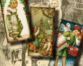 Smiley Faces of Victorian Christmas - Digital Collage Sheet - Dominos 1x2 inch for jewelry & craft - See Promo Offer