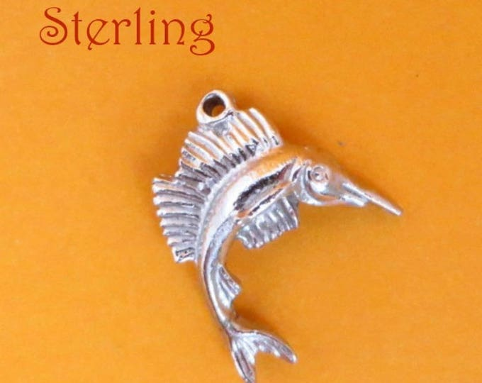 Sterling Swordfish Charm, Vintage Silver Fish Charm, Swordfish Pendant, Charm Bracelet, Gift Idea