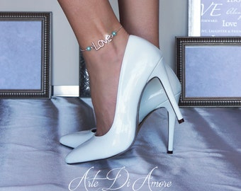 "Something Blue ""Love"" Chain Wedding Anklet for Bride"