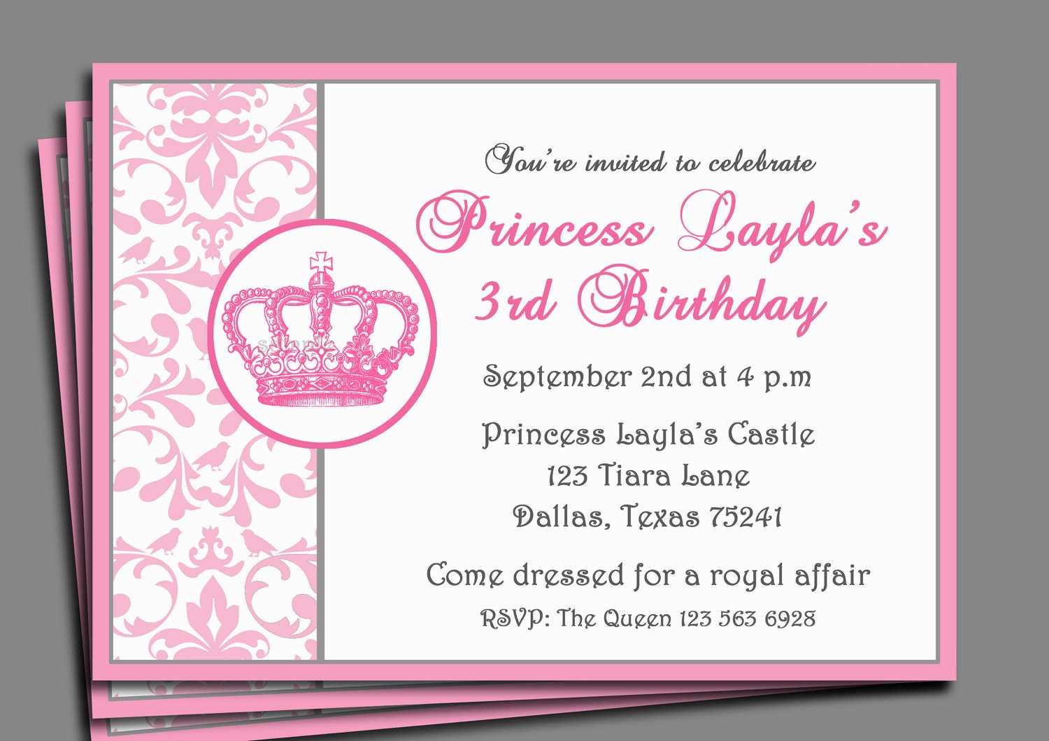 princess tea party invitation wording