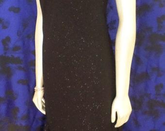 ONXY Nite Women's Size 6 Vintage 90's Black Slip Dress Prom Evening Goth Punk Sparkle Glitter