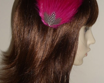 Magenta Pink Feather Fascinator HAIR CLIP Bridesmaids Hair Accessory Handmade Wedding 'Gwen'