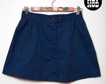 Retro Navy Blue Button Front Snap Front Vintage 70s Mini Skirt