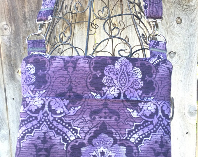 Small Cross the Body Bag, Zippered Cross the Body Bag, Adjustable strap, long handle purse, Travel Purse, Purple Across the Body Bag