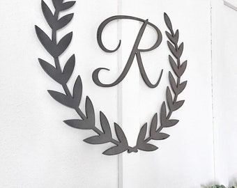Thick steel monogram and laurel wreath set