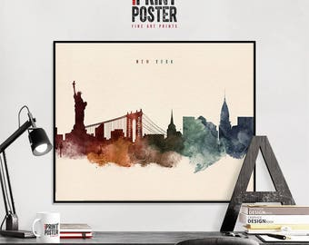 New York City art print, New York City poster, New York City skyline watercolour print, NYC wall art, travel poster, art gift, iPrintPoster