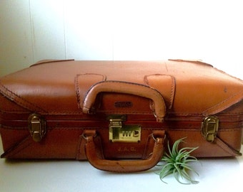 1940s Brown Leather Monogram Luggage - Suitcase - Vintage Travel - Monogrammed Overnight Bag - Brass and Ecru Canvas