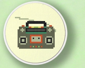 Radio Cross Stitch Pattern. Modern Simple Cute Counted Cross Stitch Pattern PDF File. Instant Download