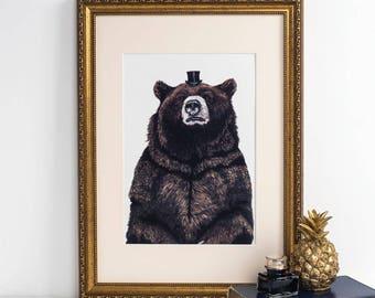 Bear Art Print - bear art print - bear art work - bear wall art - bear poster - bear wall decor - vintage time traveller - christmas gifts