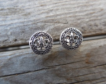 Fleur de lis earrings stud earrings handmade in sterling silver