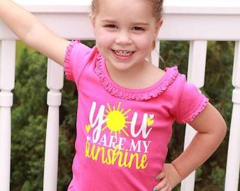 You are my sunshine, you are my sunshine shirt, summer bodysuit, girls summer shirts, pink shirt, sun shirt, girls shirts, toddler girls shi
