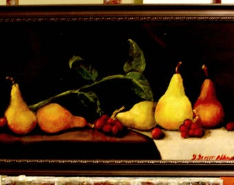 Pears 2015 12x24 oil on canvas, Framed