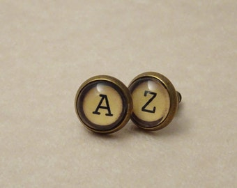 10mm Typewriter Key Stud Earrings, Mismatched Letters A and Z, Set in Glass, # 2006