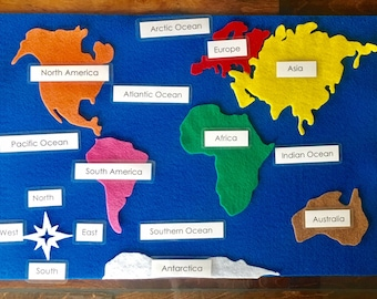 Continents etsy continent felt map with labels and three part cards gumiabroncs Images