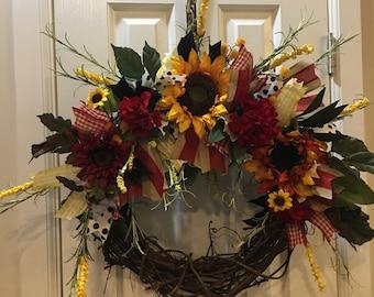 Luxurious sunflower wreath