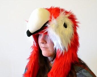 Scarlet Macaw Scoodie. Spirit Hood. Parrot Costume. Bird Hat.