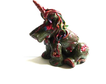 Zombie unicorn, Zombie, Unicorn, TWD. Horror, Collectible, polymer clay, Horror Art