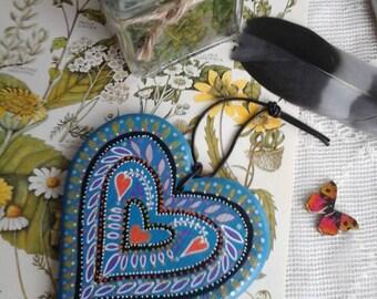 Wooden heart, blue heart, folklore heart, canal ware, heart, folklore art, folk decor, valentine gift, decorative heart, heart hanger, heart