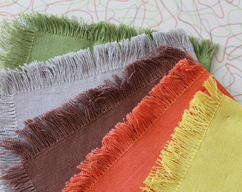 FREE SHIPPING! 1950s Fringed Linen Napkins Set of 5