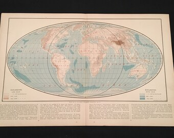 Relief Map of the World, Uncommon Map on Mollweide's Projection, Antique Map by Rand McNally