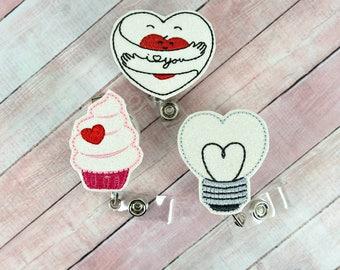 Valentine's Day Badge Reel -Love Badge Reel - Nurse Badge Reel- Retractable ID Badge Holder - Badge Pull