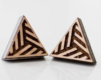 Geometric Pattern Triangle Stud Earrings Kids Jewelry Gifts