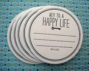 Letterpress Coaster Set - key to a happy life (set of 30)