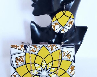Yellow African print clutch bag set Ankara clutch bag Box clutch Tribal clutch bag, Custom made Bag Clutch Bag Accessories Gift