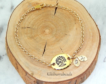 Family Tree Bracelet, Personalized Bracelet, Tree Of Life Bracelet, Initial Bracelet
