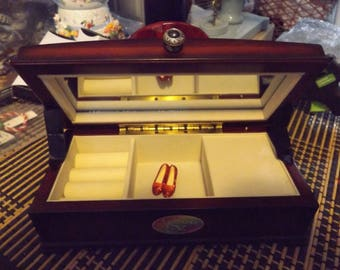wizard of oz ruby slipper gem musical jewel box/handmade.