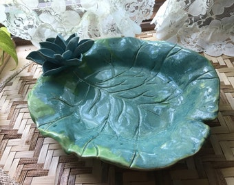Lily Pad Serving Bowl with Turquoise Blue Lotus Sculpture