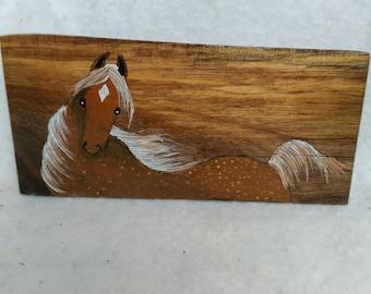 Cute horse Handpainted on a piece of butternut