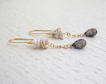 Summer SALE - Iolite earrings, Keshi pearl earrings