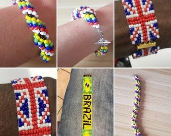 Made to Custom Order Seed Bead Bracelet British Beaded United Kingdom England London Flag Beadwork UK Magnet Clasp Brazil Sudan Sudanese