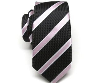 Mens Ties Black Pale Pink Stripes Skinny Necktie Wedding Ties