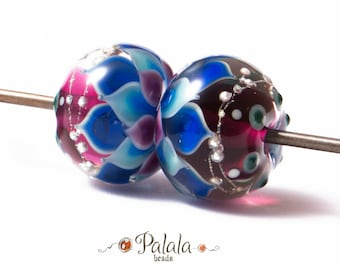 Pair of blue and pink Lampwork Glass Beads, Petal lampwork beads, Dahlia Lampwork beads, Beads for ear rings