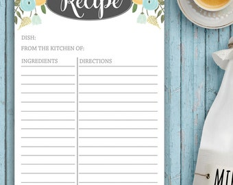 Recipe Notepad, Floral, Vintage Inspired, Farmhouse Kitchen