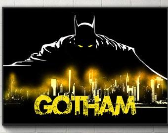 Batman Poster Gotham Print Bruce Wayne Poster Batman Wall Decor Batman Dorm Decor Batman Fan Gift for him her Batman and Gotham Poster