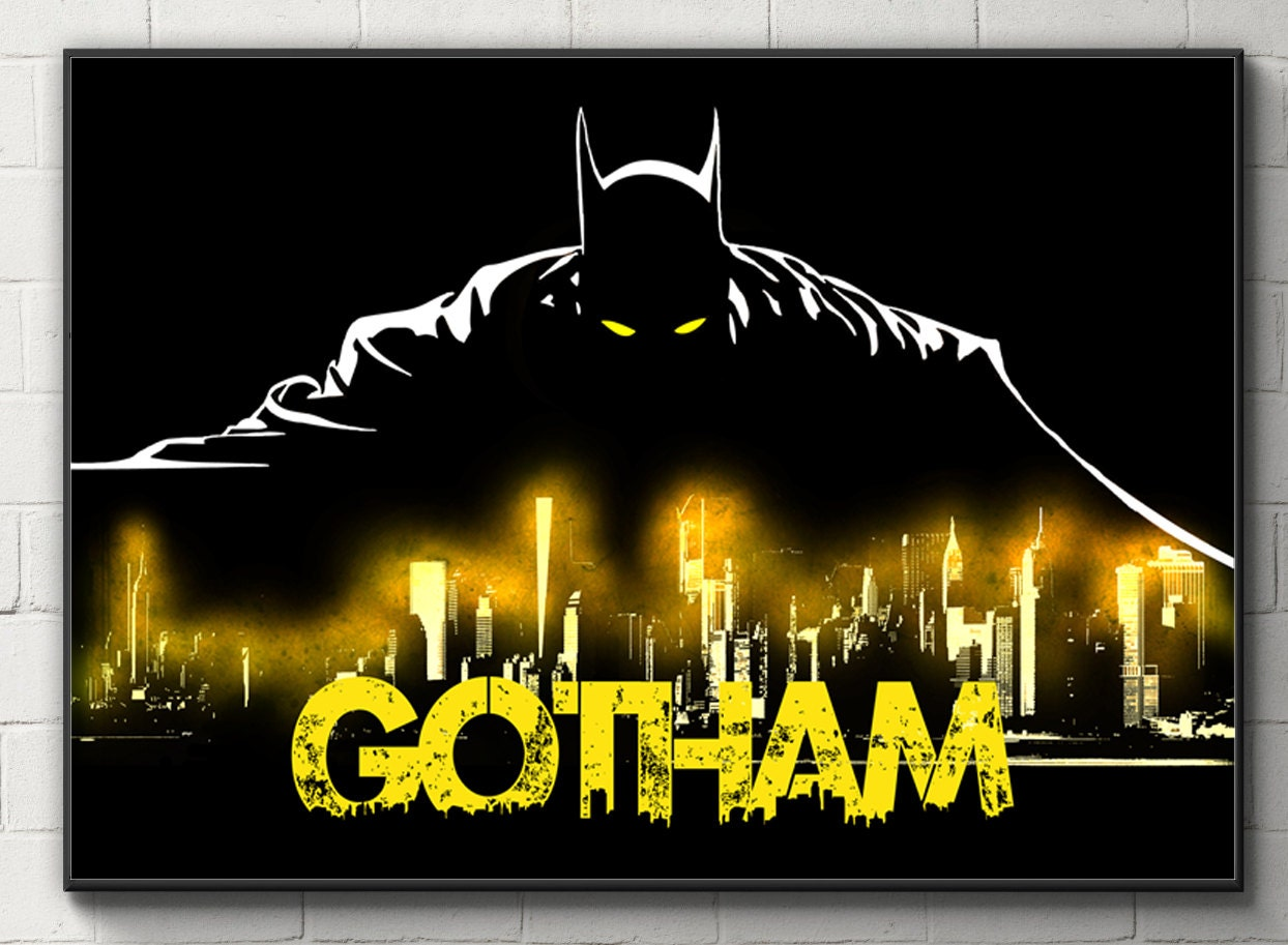 Batman Poster Gotham Print Bruce Wayne Poster Batman Wall