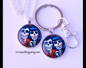 Sugar Skull Necklace , Skull Keyring ,Beautiful Key Ring  ,25mm Gothic, Emo, Key Ring/ Necklace ,Handmade By: Tranquilityy