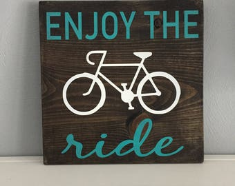 Enjoy the Ride Sign | Wooden Sign with Crisp, Handpainted Lettering & Bicycle | Home Decor for Cyclist | Gift for Cyclist | Bike Art