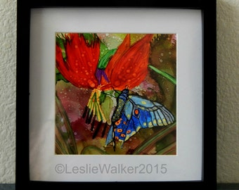 Butterfly Alcohol Ink Painting SFA Leslie Walker Art 9x9 framed